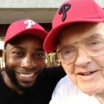 Steve and James Painten, 100 years young at the Phillies game!