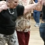 Doris and Collette during line dancing lessons.