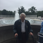 Bernie in front of the fountain at World War II Memorial.