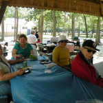 Residents enjoying the picnic BBQ lunch