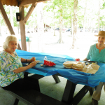 Fanny and Carol enjoying the picnic