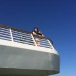 Myrna enjoying the beautiful weather on the ferry.