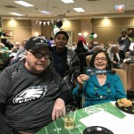 Phyllis and Bernie cheering for the Eagles!