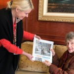 Jennifer presenting Myrna with her copy of the article.