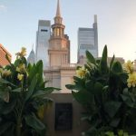Beautiful view of the Mormon Temple and city skyline at sunset with our stunning canna lillies.